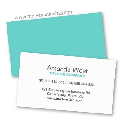 Simple Generic Aqua Blue Business Card More Than Invites