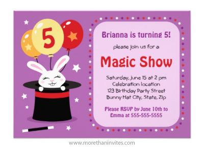 magicians hat birthday party invitation