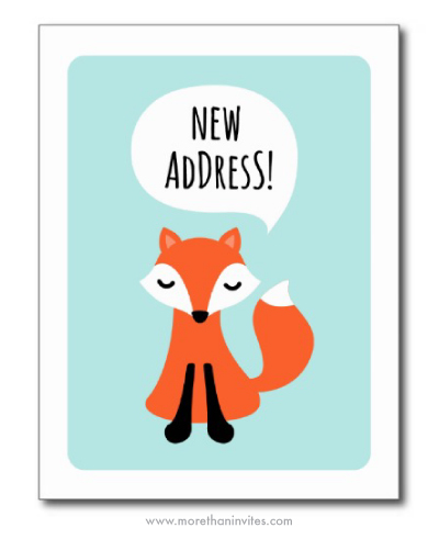 Cute Moving Announcement Postcard With A Little Fox And A