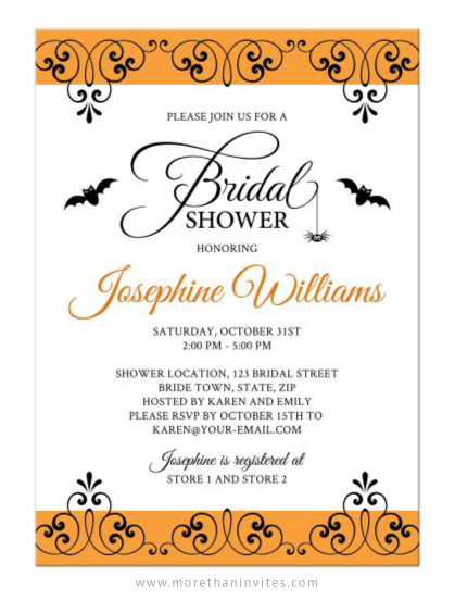 Elegant Halloween Bridal Shower Invitation With Bats