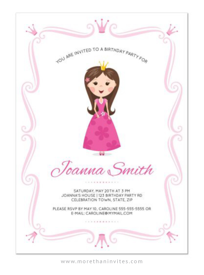 Pink Princess Birthday Party Invitation With Ornate Border