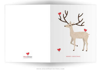 Stag With Red Birds Simple Elegant Merry Christmas Card