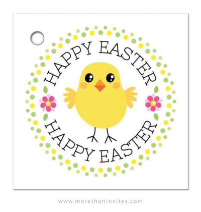 Happy Easter Gift Tag With Cute Chicken Pink Flowers And