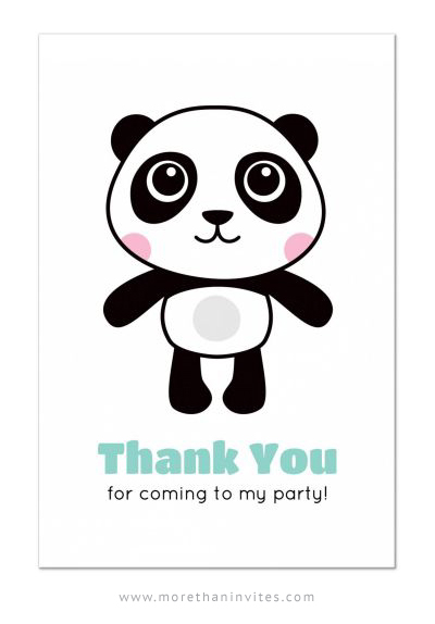 Cute Panda Birthday Party Thank You Postcard For Kids