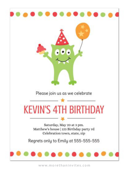 Cute Monster Birthday Party Invitation For Kids More