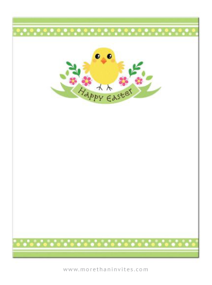 Happy Easter Note Card With Cute Chicken Banner And