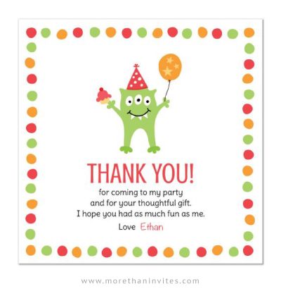 Monster Birthday Party Thank You Card With Green Monster