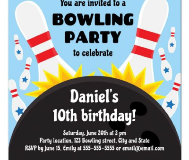 Bowling Birthday Party Invitation With Bowling Ball Knocking Down Pins