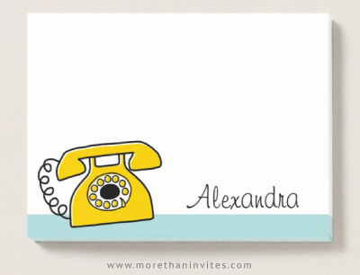 Retro Yellow Telephone Sticky Notes With Personalized