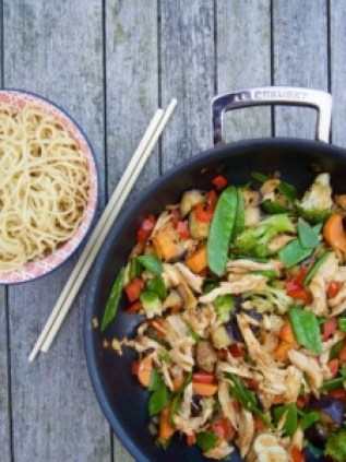 Stir-fry with vegetables and roasted chicken from More Than Just Carrots