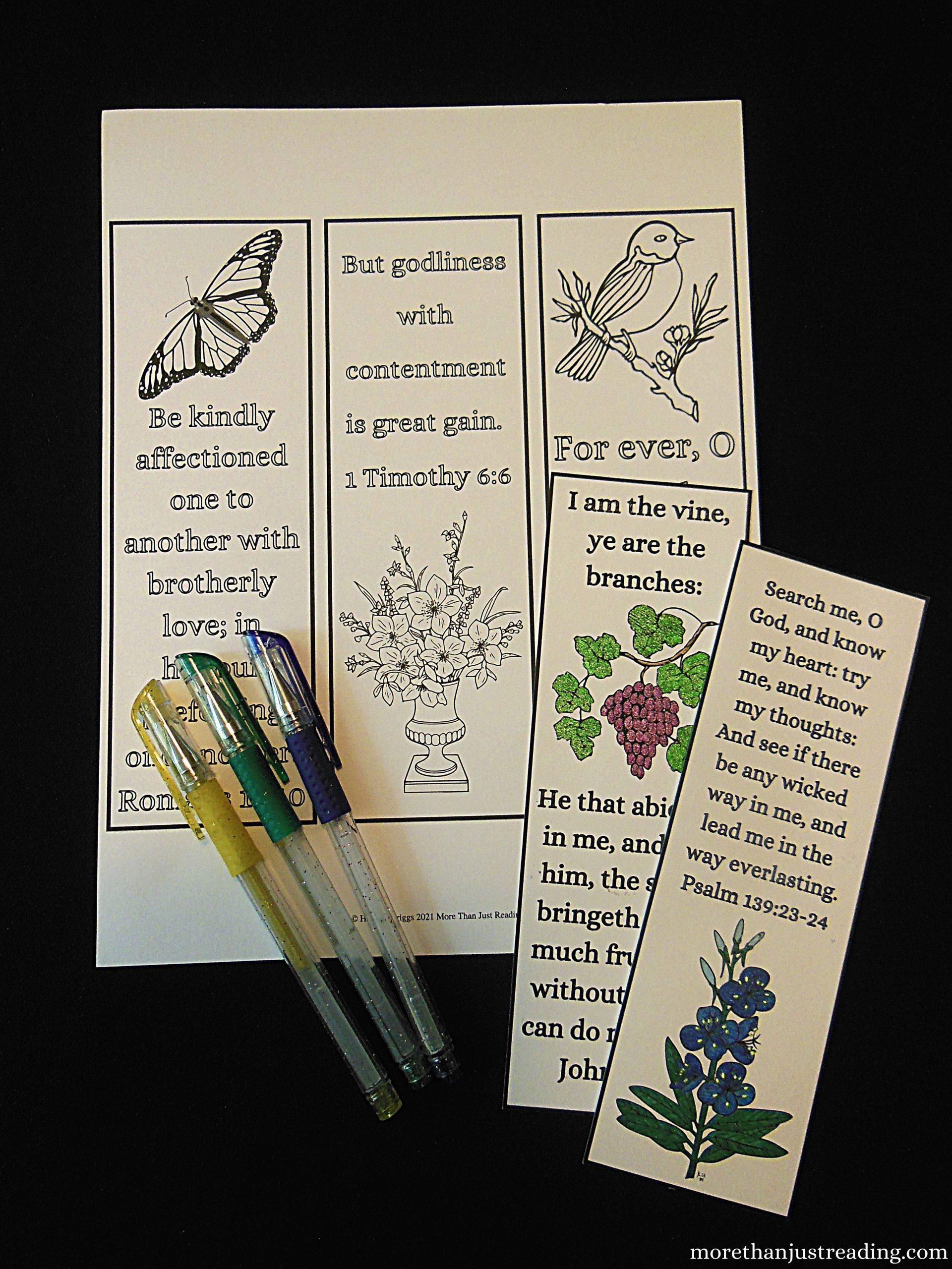 printable coloring bookmarks and gel pens