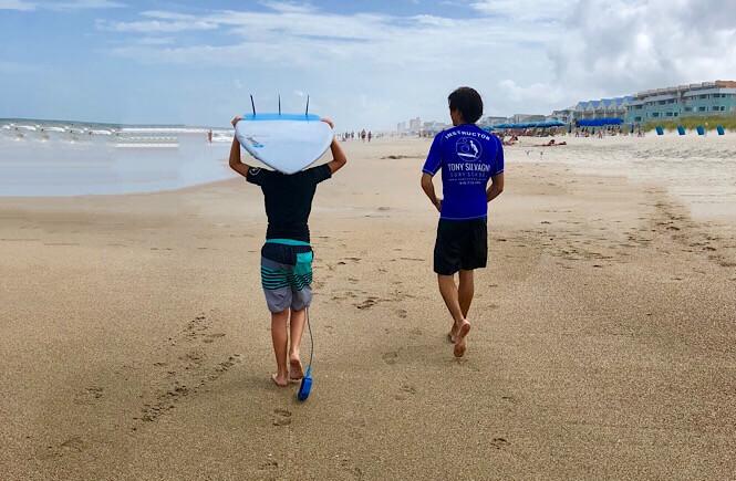 Surfing at Carolina Beach