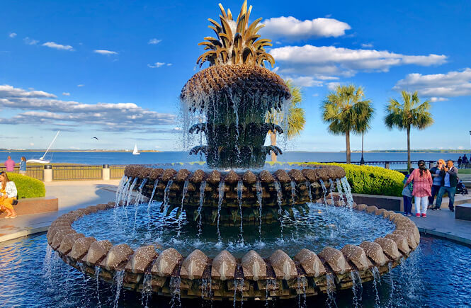 Top 10 Best things to do in Charleston SC with kids, tips featured by top US travel blog, More Than Main Street: pineapple fountain in charleston sc