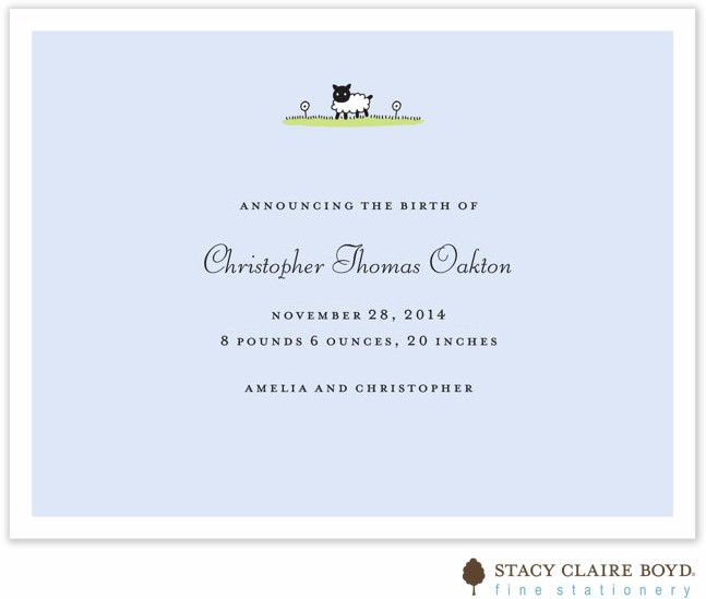Stacy Claire Boyd Birth Announcement Little Lamb Blue
