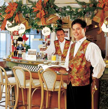 Holiday decorations ast the Bistro Cafe on the Crystal Symphony