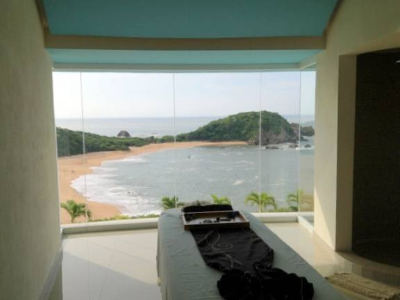 Treatment room with a view at Secrets Huatulco