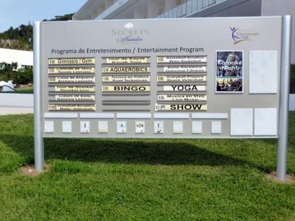 The entertainment menu at Secrets Huatulco