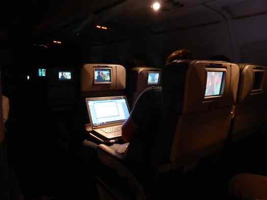 Ample room to work on a computer in Extra Legroom seats