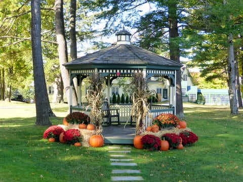 The gazebo all decked out for autumn