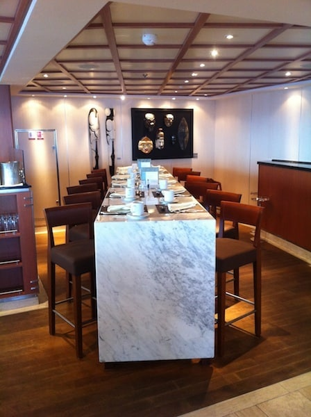 One of the long tables in the Colonnade Restaurant aboard the Seabourn Sojourn