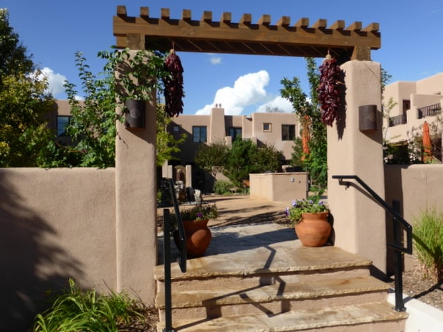 One of the pretty courtyards on the property at El Corazon de Santa Fe