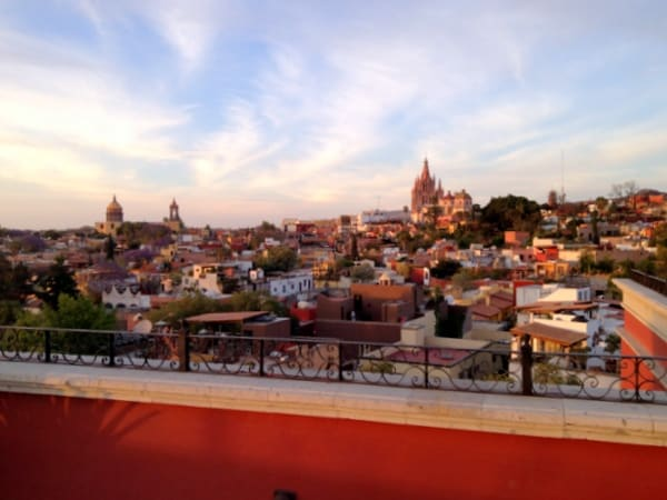 VIew of San Miguel de Allende from the rooftop Luna Bar
