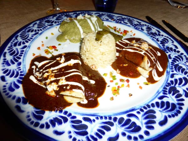 Quesadillas with mole sauce at El Patio