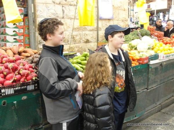Children at Mahane Yehuda Market in Jerusalem