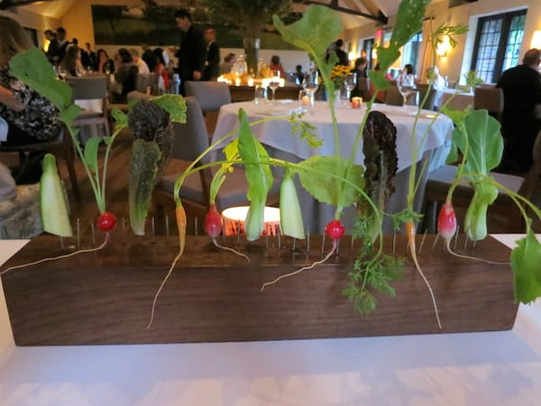 Presentation of baby carrots and radishes