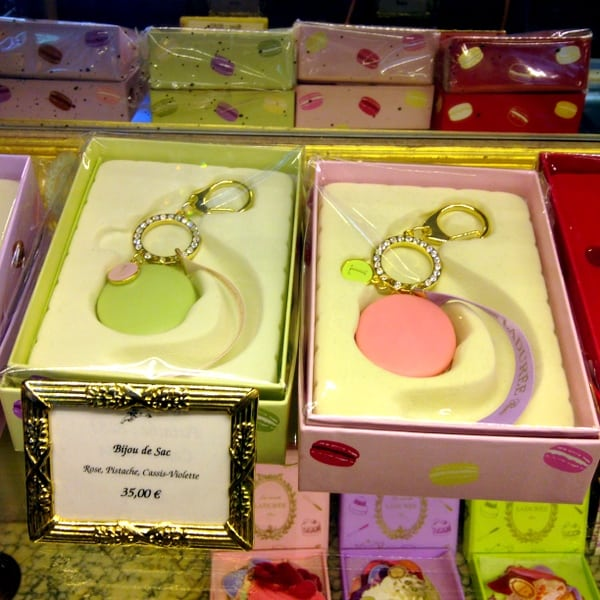 Macaron keychains on display in the tearoom