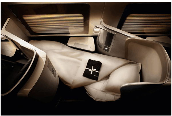 A first-class flat-bed on British Airways