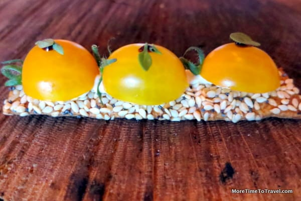 Blue Hill at Stone Barns Cherry tomatoes on seeds