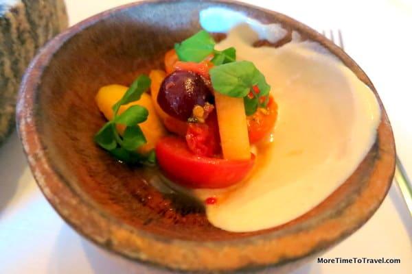 Cherry tomatoes and Blue Hill yogurt