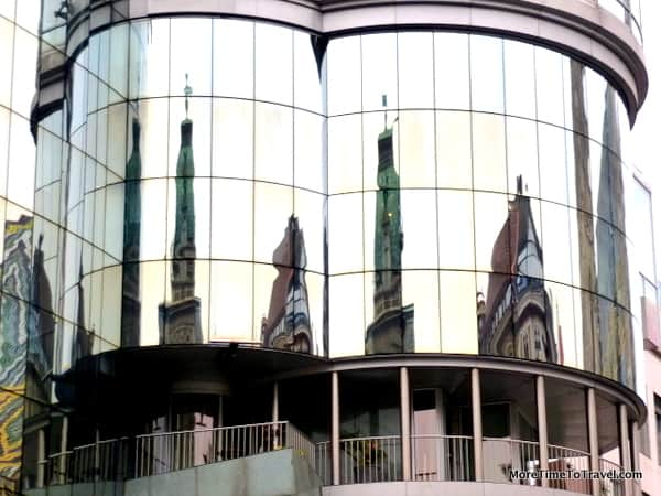 Mix of traditional and modern architecture in downtown Vienna