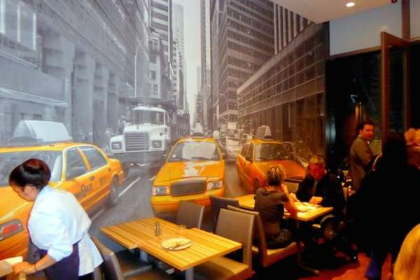 NYC Wall mural in the dining area of Homewood Suites New York/Midtown Manhattan Photo credit: Jerome Levine