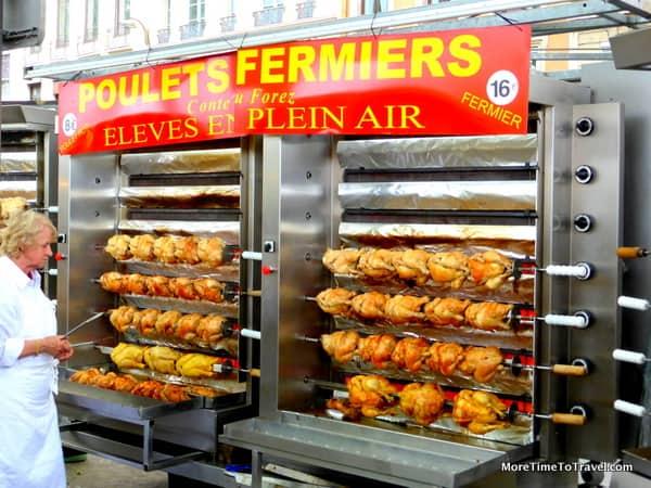 Rotisserie chickens at Saint-Antoine Market