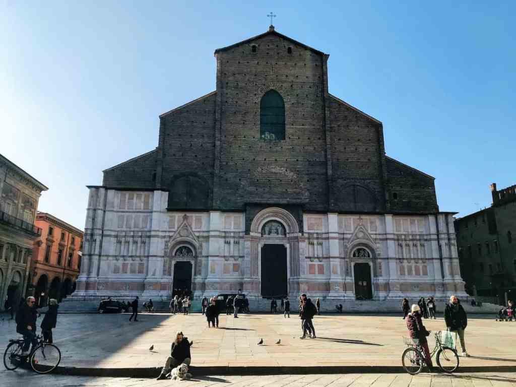 Basilica San Petronio on Piazza Maggiore in Bologna
