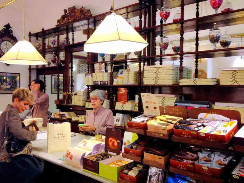 The charming Majani shop with old world mahogany furnishings