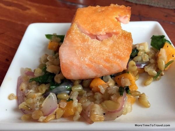 Pan Seared Salmon with Warm Farro Salad
