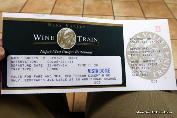 Tickets for the Napa Valley Wine Train