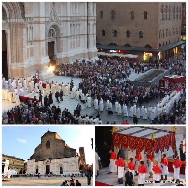 Church of San Petronio at bottom left and pictures of the procession.