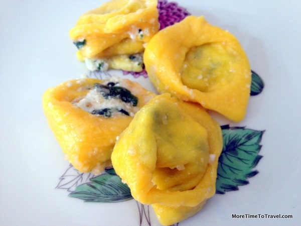 Plate of tortelloni stuffed with ricotta and Parmesan cheeses and spinach