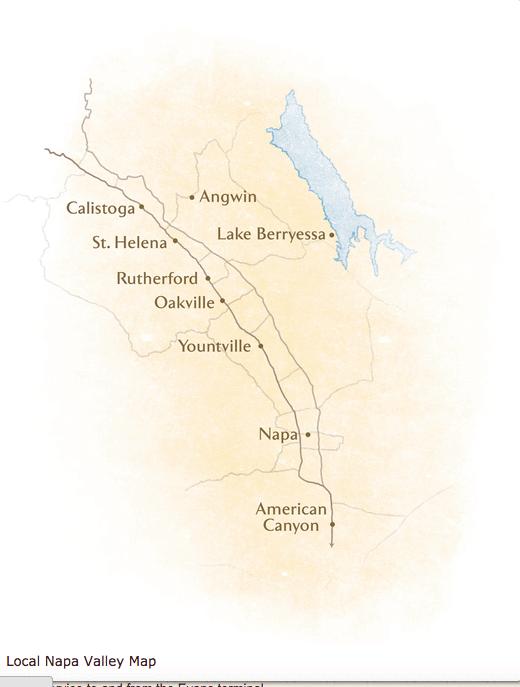 Map of Napa Valley (Photo credit: Visit Napa Valley)