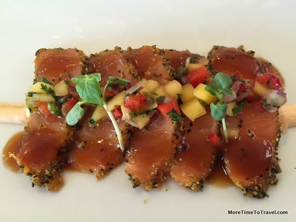 Salmon with mango salsa at the Chef's Table Restaurant