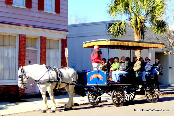 Visitors on a carriage tour of Charleston
