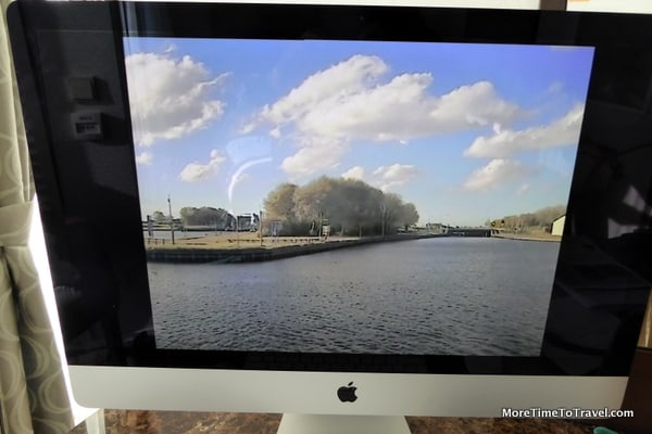 """Apple 27"""" monitor with view from bow camera"""