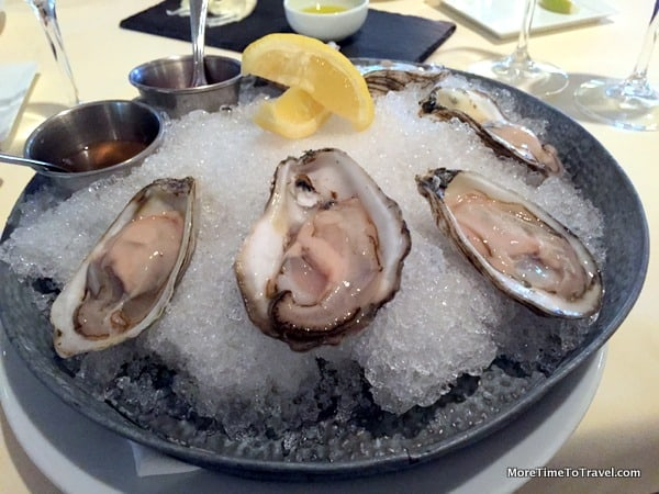 Locally cultivated and harvested oysters at Topper's