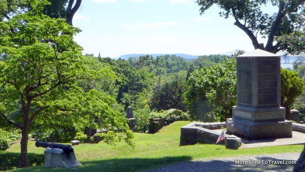 Dramatic view looking towards the Hudson River from Revolutionary War monument at Sleepy Hollow Cemetery