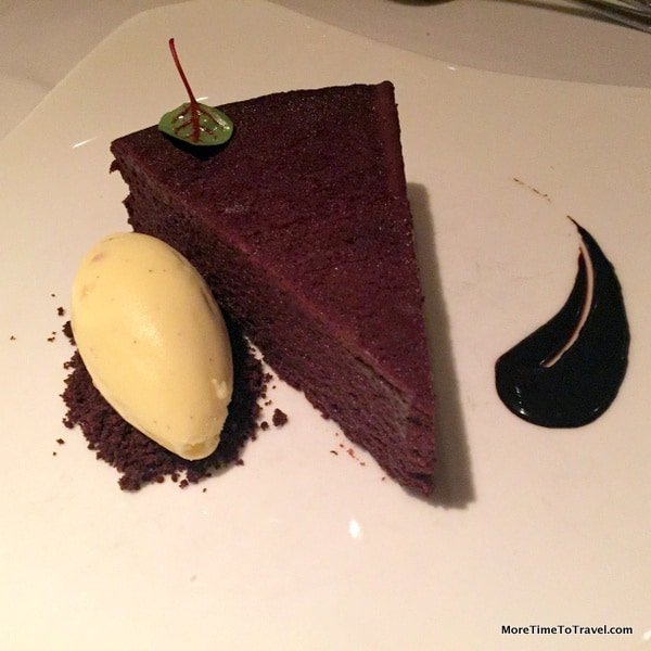 Gotham Chocolate Cake served warm with salted almond ice cream
