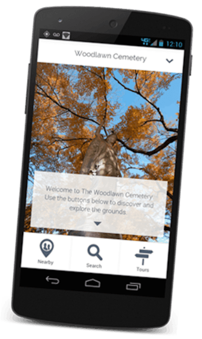 Screenshot of the Woodlawn Cemetery App